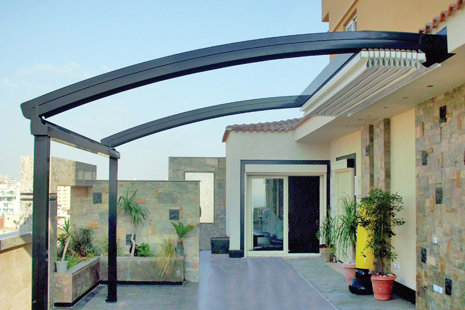 Skycover curve curved profile retractable pergola system up to 10m projection - Pergola profil systeme ...